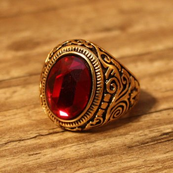 Piraten Ring, oval - Goldfarben / Rot